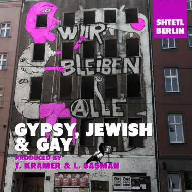 """Adventures in the German capital. Photo is of a Berlin building. Graffiti text says """"We will all stay""""."""